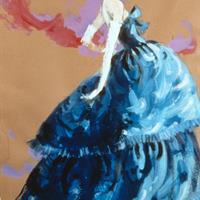 Balenciaga, 1950s, Blue Silk Faille, Stipelman Painting