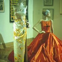 Dress From, Philip Hulitar, 1950s, bustle-back sheath in silk satin and silk velvet