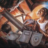 "Elmer W. Brown, ""Dorie Miller Manning the Gun at Pearl Harbor,"" 1997"