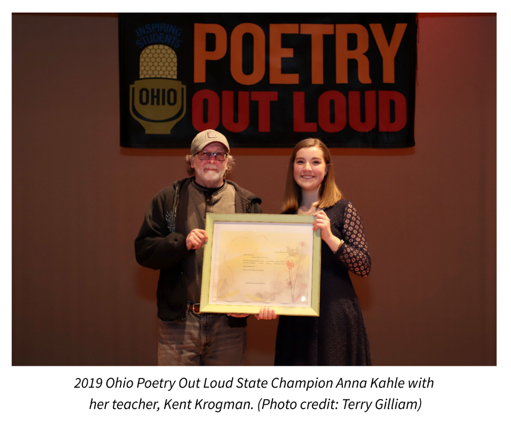 2019 Ohio Poetry Out Loud State Champion Anna Kahle with her teacher, Kent Krogman. Photo credit: Terry Gilliam