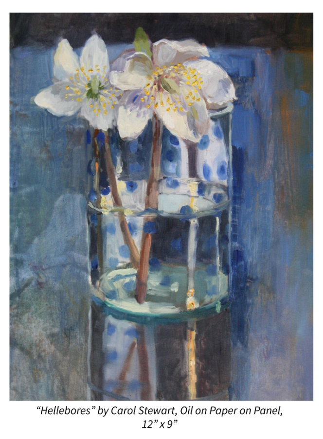 """Hellebores"" by Carol Stewart, Oil on Paper on Panel, 12"" x 9"""