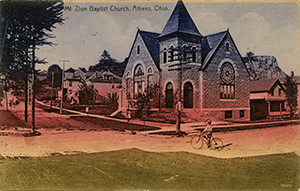 A 1909 postcard of the Mt. Zion Baptist Church in Athens. Photo courtesy of Ada Woodson Adams