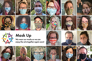 A collage of photos of Ohio Arts Council staff, fellows, and contractors wearing face masks.