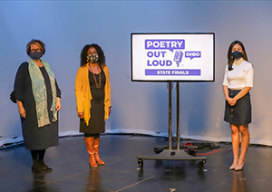 Ohio Arts Council Executive Director Donna S. Collins, OAC Arts Learning Coordinator Chiquita Mullins Lee, and 2021 Ohio Poetry Out Loud State Champion Monserrat Tlahuel-Flores at the 2021 Ohio Poetry Out Loud State Finals Competition