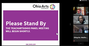 A screenshot of a virtual panel hosted by the Ohio Arts Council on April 7, 2020.