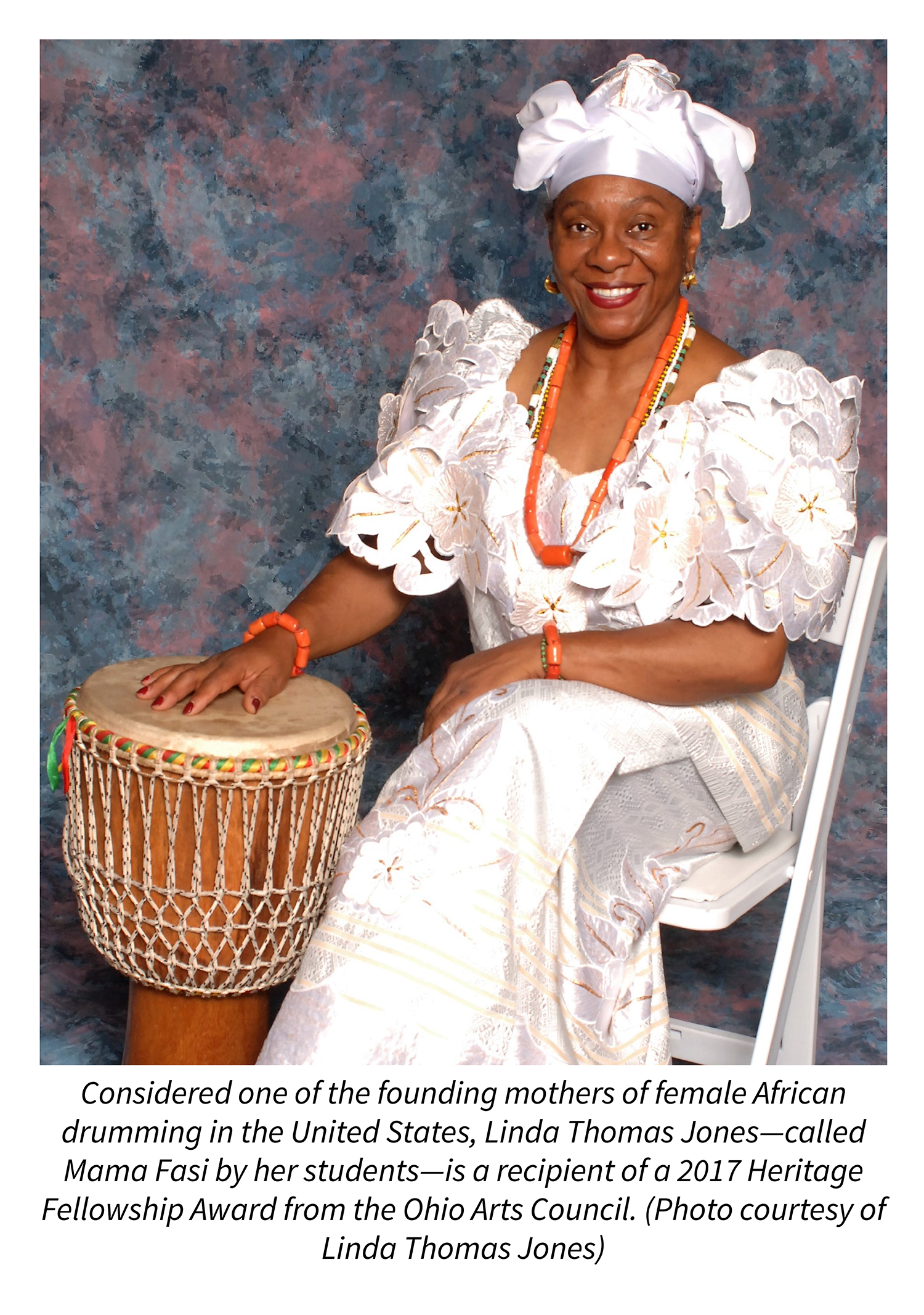 Considered one of the founding mothers of female African drumming in the United States, Linda Thomas Jones—called Mama Fasi by her students—is a recipient of a 2017 Heritage Fellowship Award from the Ohio Arts Council. Photo courtesy of Linda Thomas Jones.