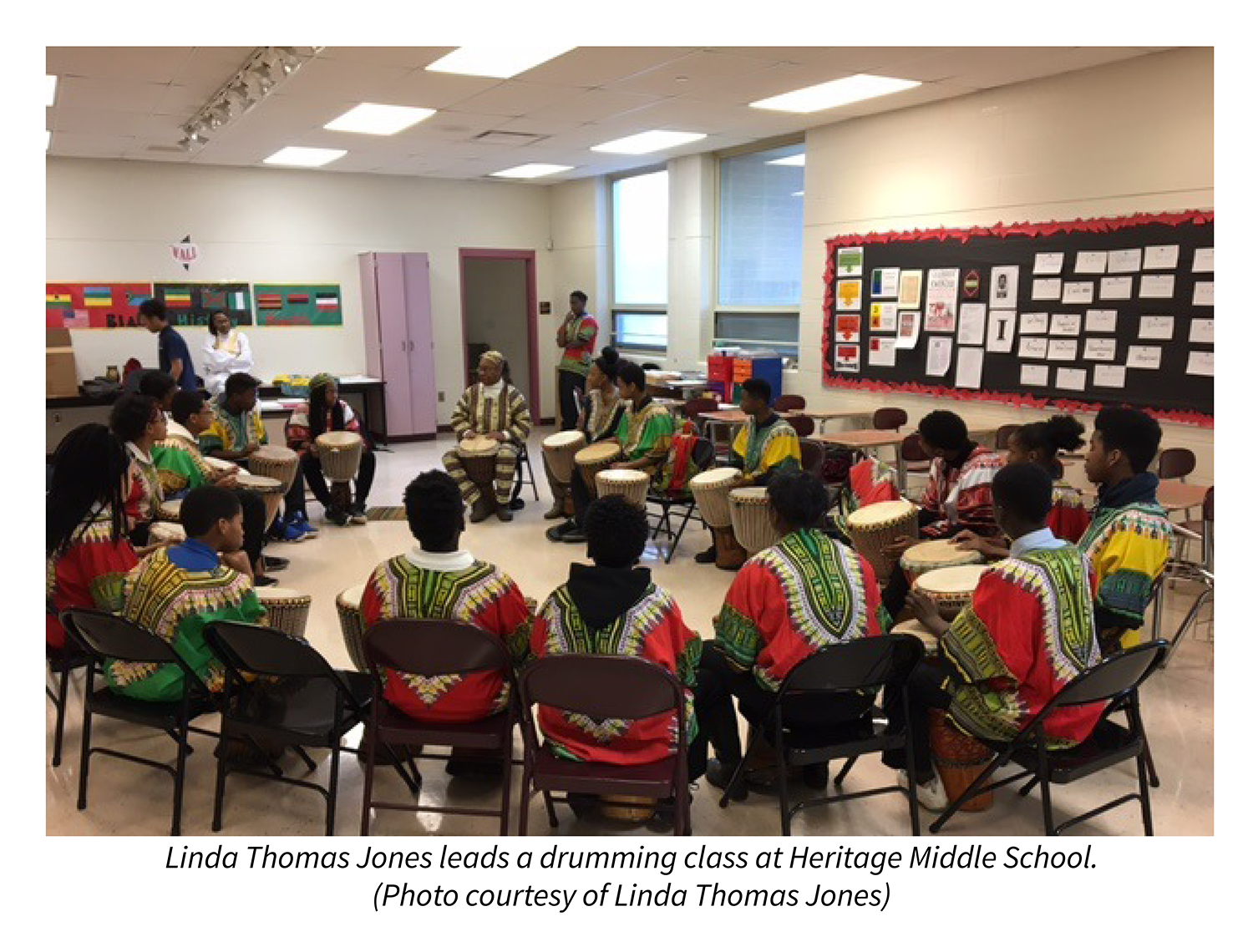 Linda Thomas Jones leads a drumming class at Heritage Middle School. Photo courtesy of Linda Thomas Jones.