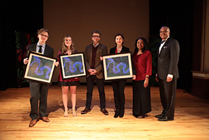 2018 Poetry Out Loud third place winner Magnus Saebo, second place winner Anna Kahle, Ohio Poet Laureate Dave Lucas, 2018 POL Ohio State Champion Caroline Delaney, Ohio Arts Council Arts Learning Coordinator Chiquita Mullins Lee, and Former State Senator Eric H. Kearney
