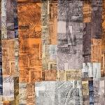 A quilt made of brown, orange, and tan fabric