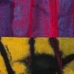 A two-toned quilt with pink and purple fabric on top and yellow and black fabric on the bottom