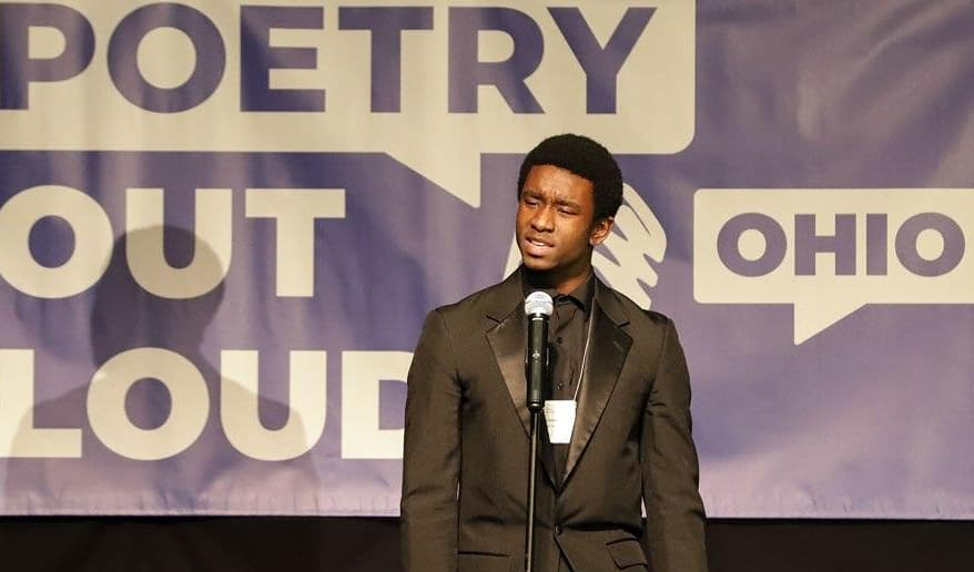 2020 Ohio Poetry Out Loud State Champion Austin Smith at the State Finals competition