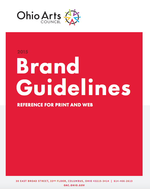 Ohio Arts Council brand guidelines cover